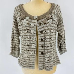 Moth by Anthro SzL Knit Sweater with Rosettes